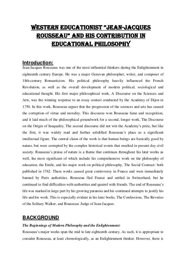 "WESTERN EDUCATIONIST ""JEAN-JACQUES ROUSSEAU"" AND HIS CONTRIBUTION IN EDUCATIONAL PHILOSOPHY Introduction: Jean-Jacques Rou..."