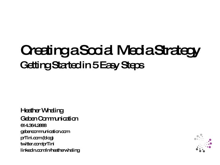 Getting Started in 5 Easy Steps Creating a Social Media Strategy Heather Whaling Geben Communication gebencommunication.co...