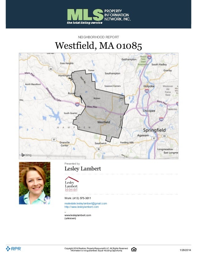 Real Estate Market Report Westfield, MA January 2014