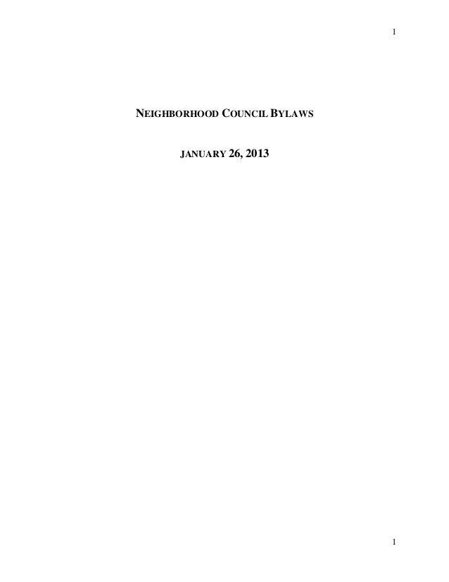 1 1 NEIGHBORHOOD COUNCIL BYLAWS JANUARY 26, 2013