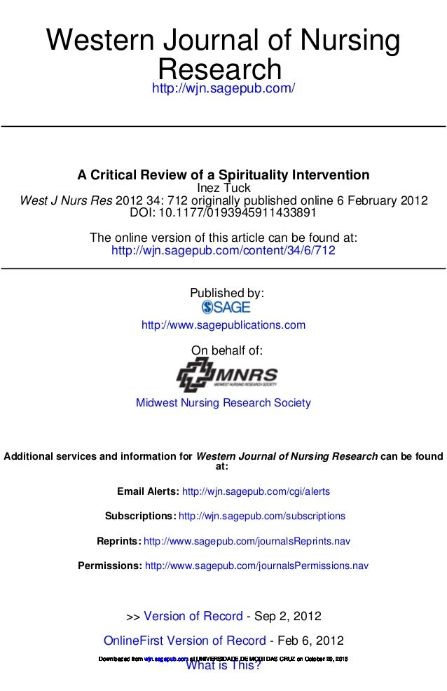 Western Journal of Nursing Research http://wjn.sagepub.com/  A Critical Review of a Spirituality Intervention Inez Tuck We...