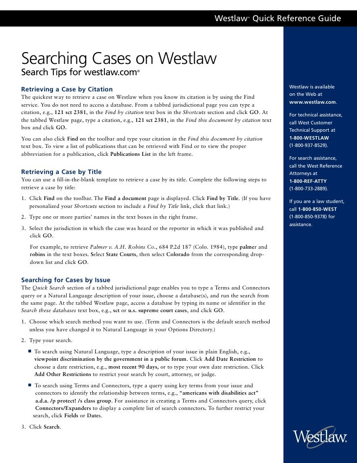 Westlaw Quick Reference Guide