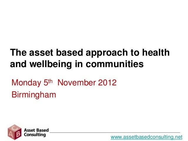 West Midlands Assets Seminar nov 2012