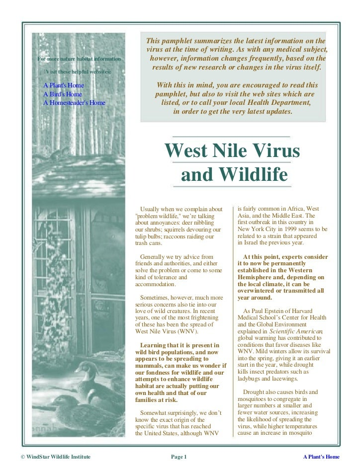 This pamphlet summarizes the latest information on the                                                virus at the time of...