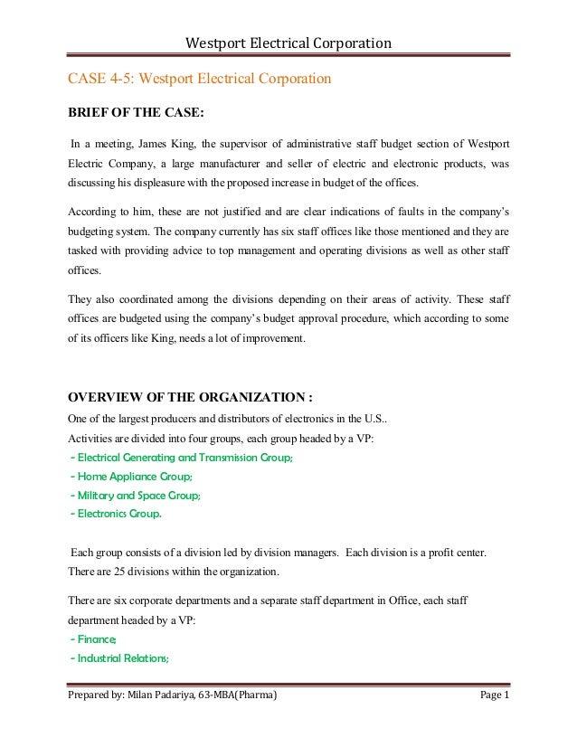 Westport electrical corporation case analysis