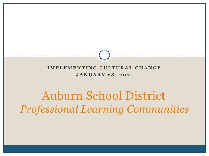 Implementing Cultural Change<br />January 28, 2011<br />Auburn School District	 Professional Learning Communities<br />