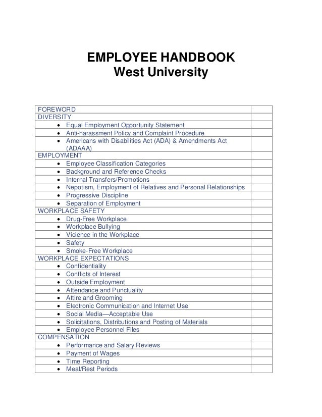 EMPLOYEE HANDBOOK West University FOREWORD DIVERSITY  Equal Employment Opportunity Statement  Anti-harassment Policy and...