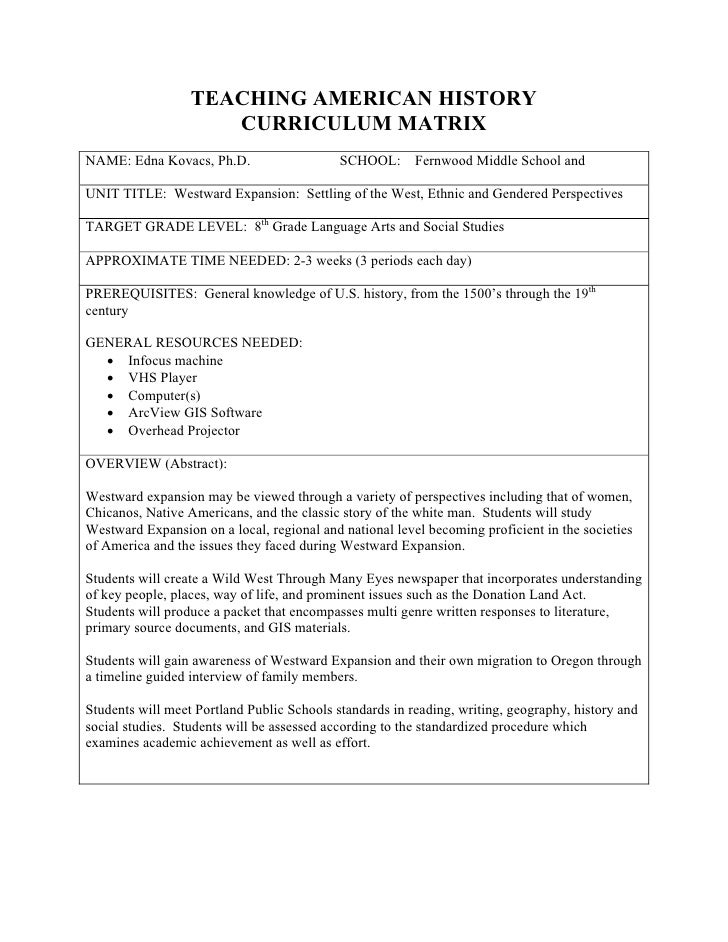 TEACHING AMERICAN HISTORY                      CURRICULUM MATRIX NAME: Edna Kovacs, Ph.D.                    SCHOOL:      ...
