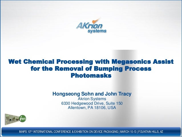 Wet chemical processing with megasonics assist for micro-bump resist stripping