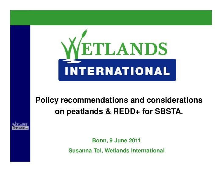Policy recommendations and considerations     on peatlands & REDD+ for SBSTA.                Bonn, 9 June 2011        Susa...