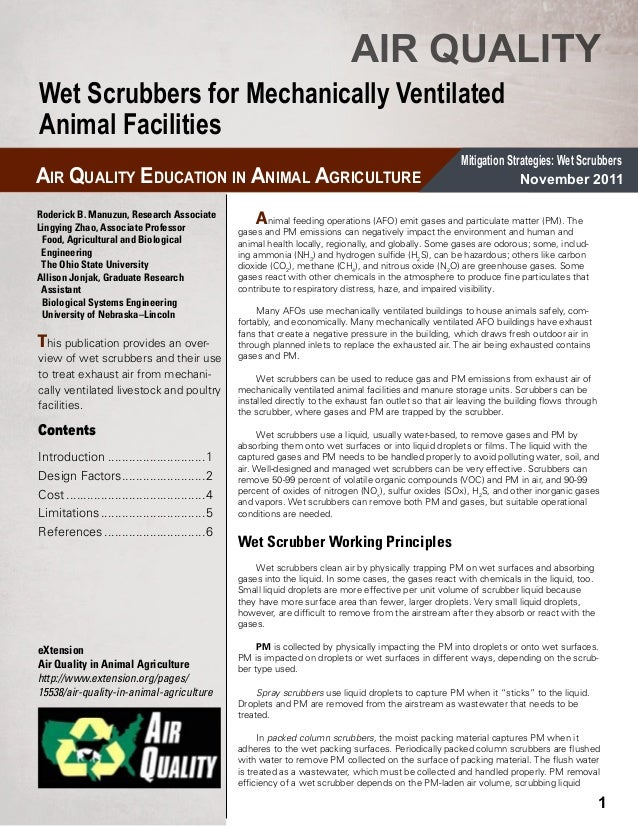 Wetscrubbers for Mechanically Ventilated Animal Facilities