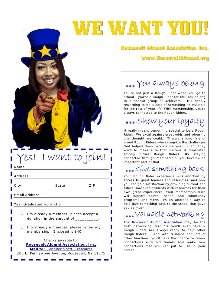W E W AN T YOU !                                                 Roosevelt Alumni Association,, Inc..                     ...