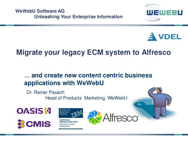 WeWebU Software AG      Unleashing Your Enterprise InformationMigrate your legacy ECM system to Alfresco   … and create ne...