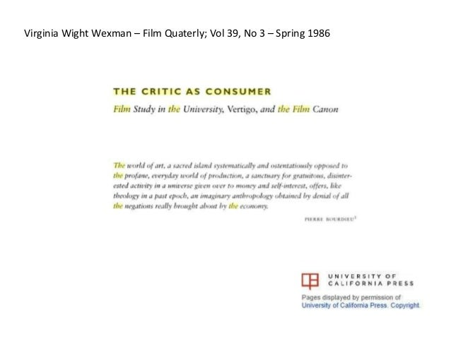 Virginia Wight Wexman – Film Quaterly; Vol 39, No 3 – Spring 1986