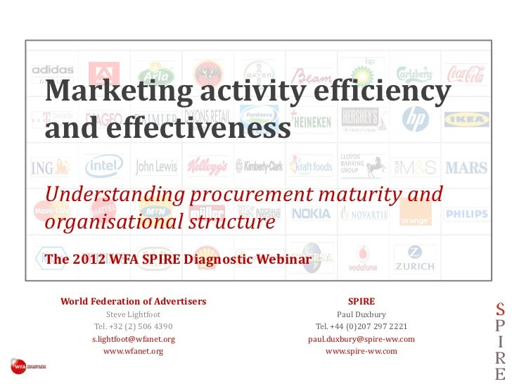 Marketing activity efficiencyand effectivenessUnderstanding procurement maturity andorganisational structureThe 2012 WFA S...