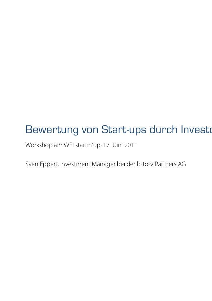 Bewertung von Start-ups durch Investoren