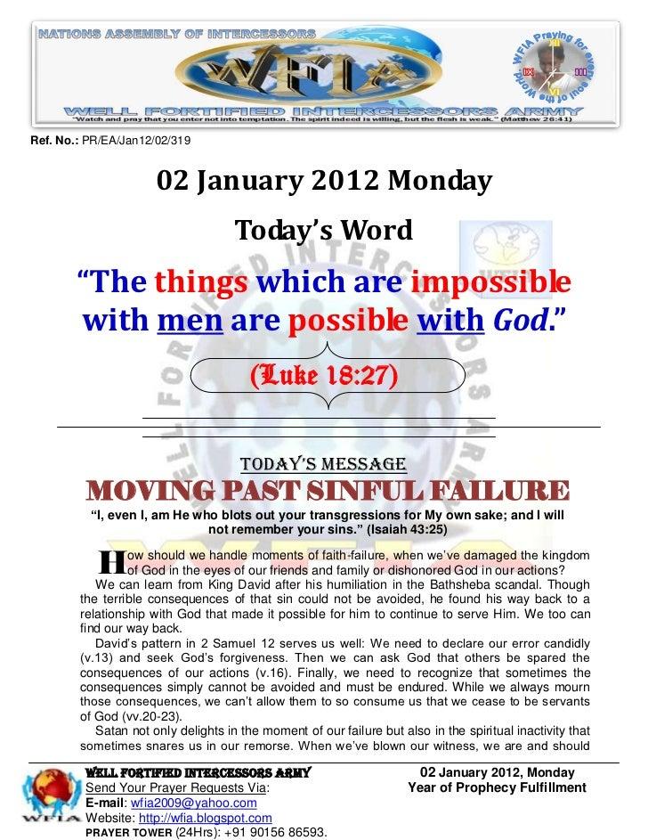 WFIA, Prayer For 02 January 2012
