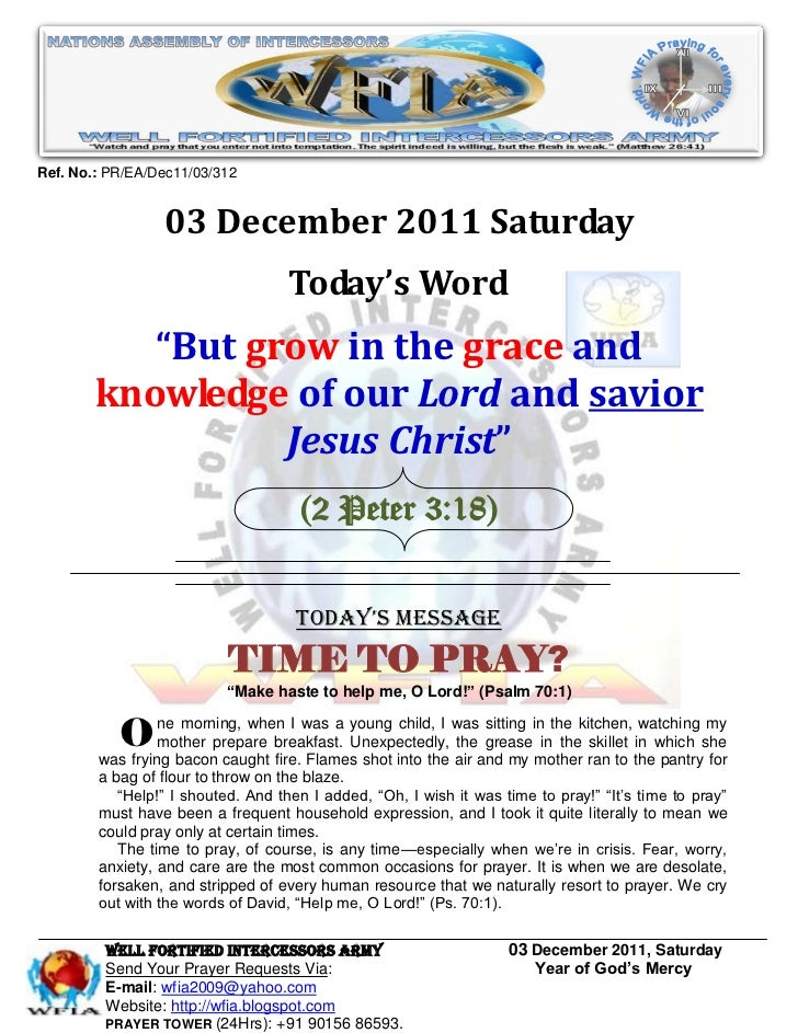 WFIA, Prayer For 03 December 2011
