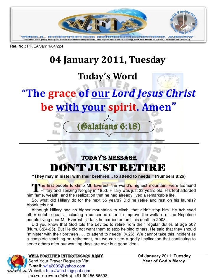Ref. No.: PR/EA/Jan11/04/224                    04 January 2011, Tuesday                                    Today's Word  ...