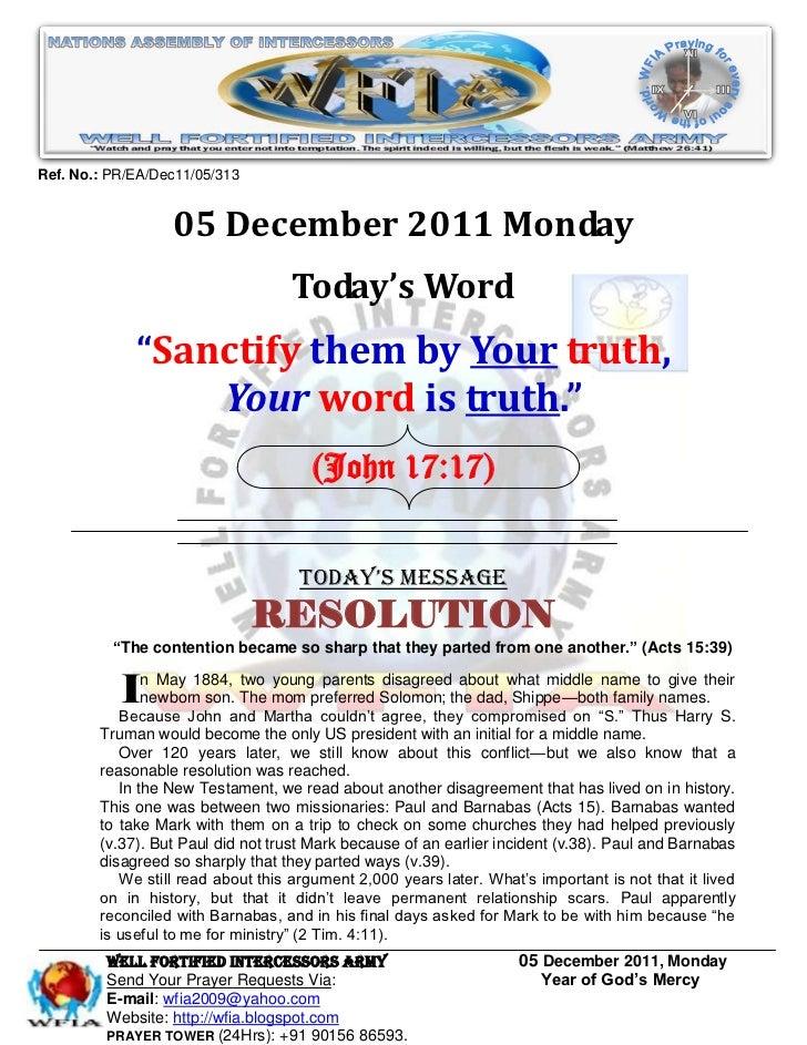 WFIA, Prayer For 05 December 2011