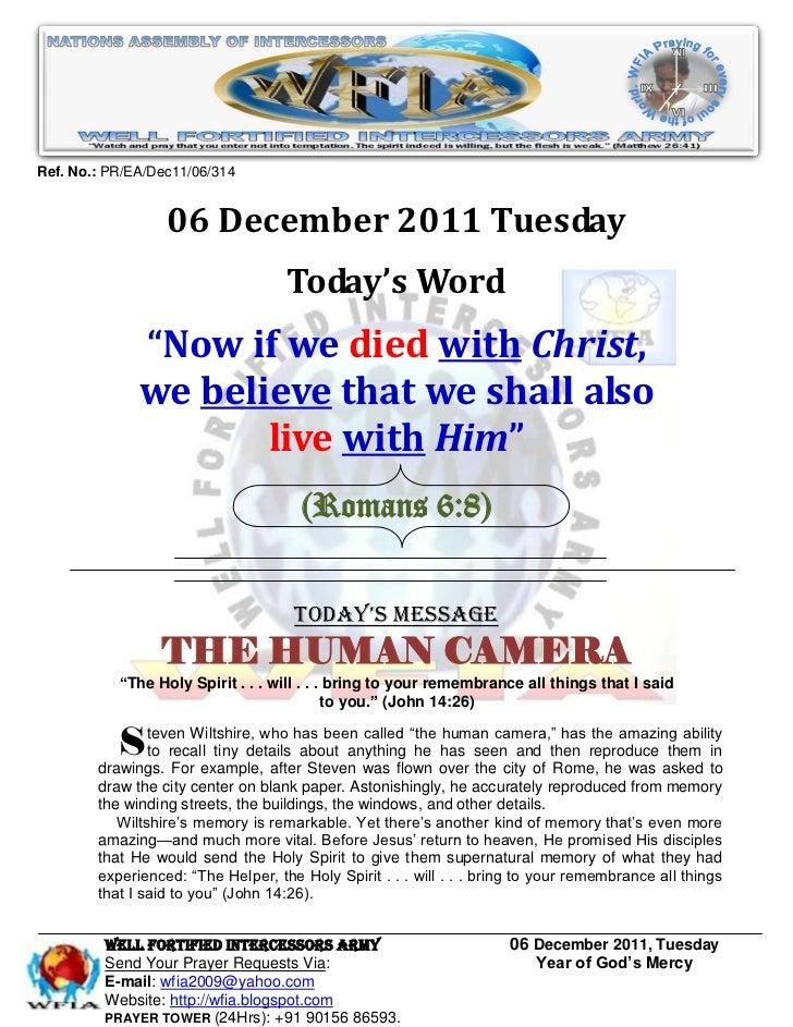 Ref. No.: PR/EA/Dec11/06/314                  06 December 2011 Tuesday                                    Today's Word    ...