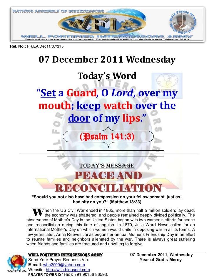 Ref. No.: PR/EA/Dec11/07/315              07 December 2011 Wednesday                                  Today's Word        ...