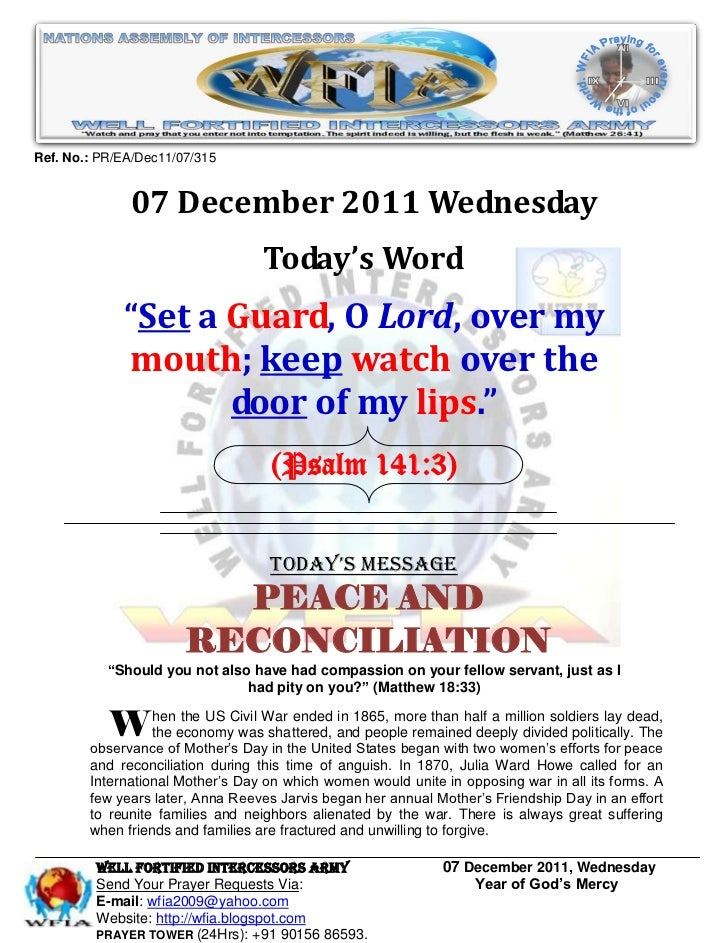 WFIA, Prayer For 07 December 2011