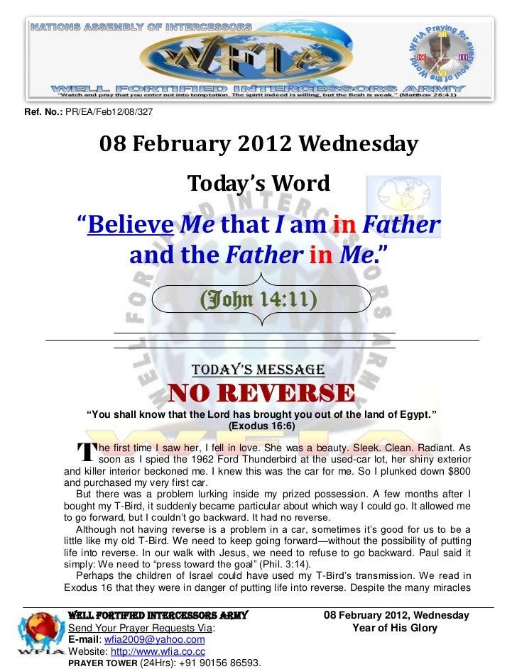 WFIA, Prayer For 08 February 2012