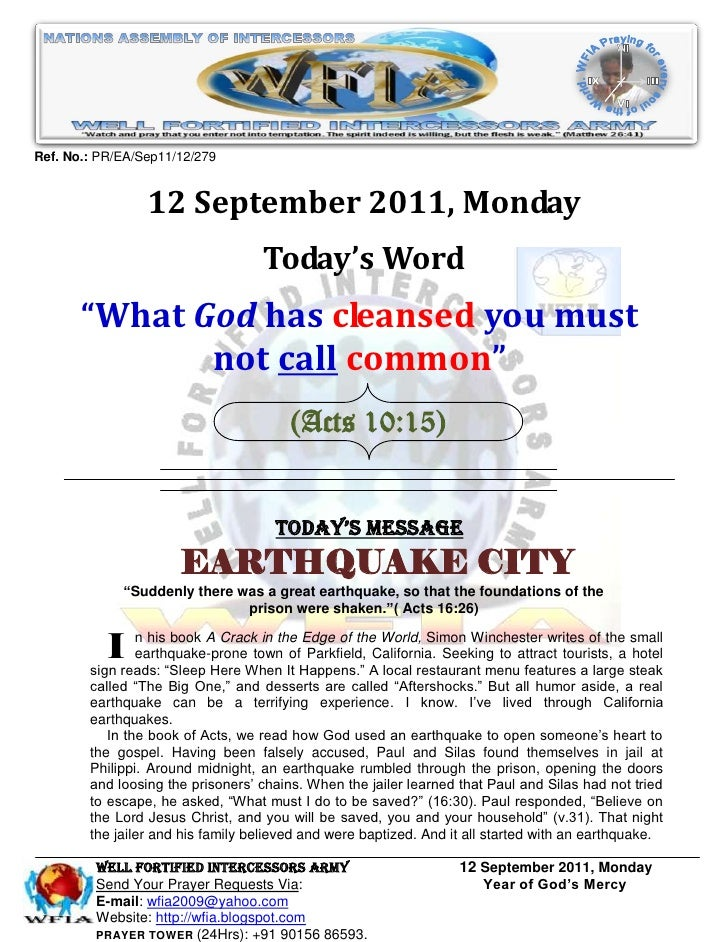 WFIA, Prayer For 12 September 2011