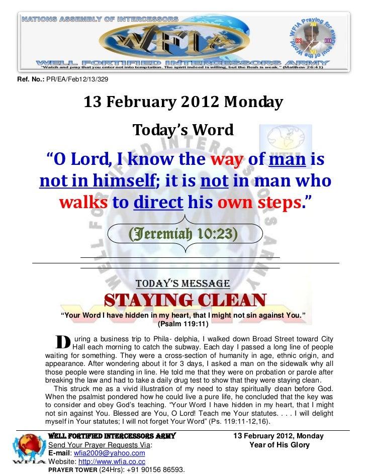 WFIA, Prayer For 13 February 2012