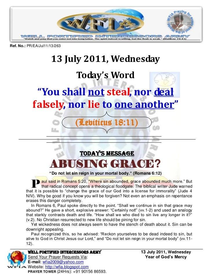 WFIA, Prayer For 13 July 2011