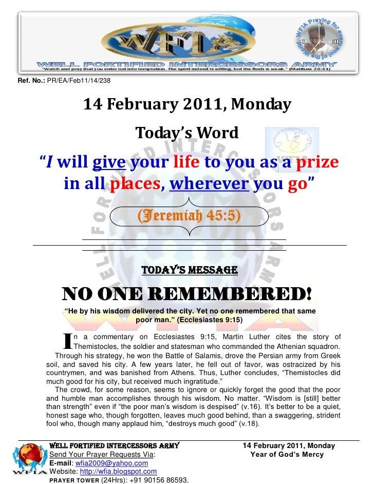 Ref. No.: PR/EA/Feb11/14/238                   14 February 2011, Monday                                   Today's Word    ...