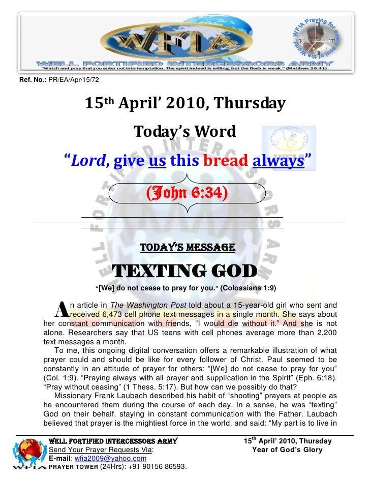 WFIA, prayer for 15th april' 2010