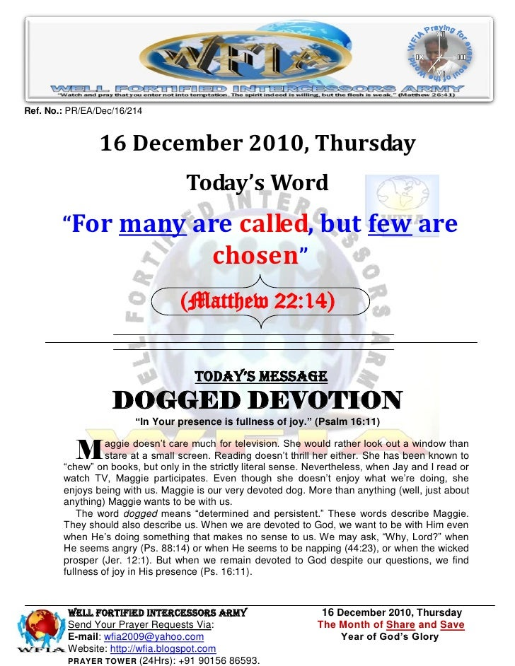 Ref. No.: PR/EA/Dec/16/214                16 December 2010, Thursday                                   Today's Word       ...