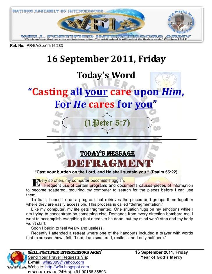 WFIA, Prayer For 16 September 2011