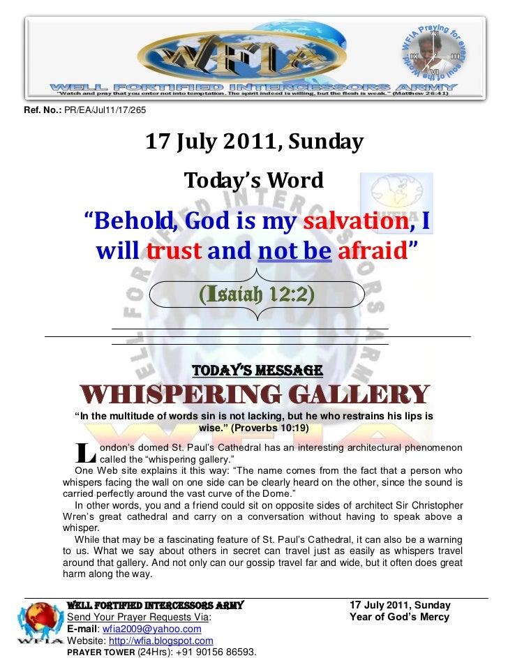 Ref. No.: PR/EA/Jul11/17/265                           17 July 2011, Sunday                                   Today's Word...