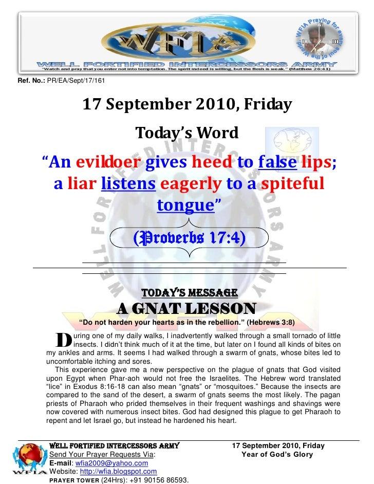 WFIA, Prayer for 17 September 2010