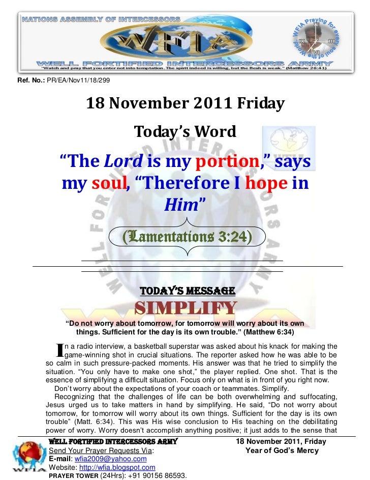 Ref. No.: PR/EA/Nov11/18/299                    18 November 2011 Friday                                    Today's Word   ...