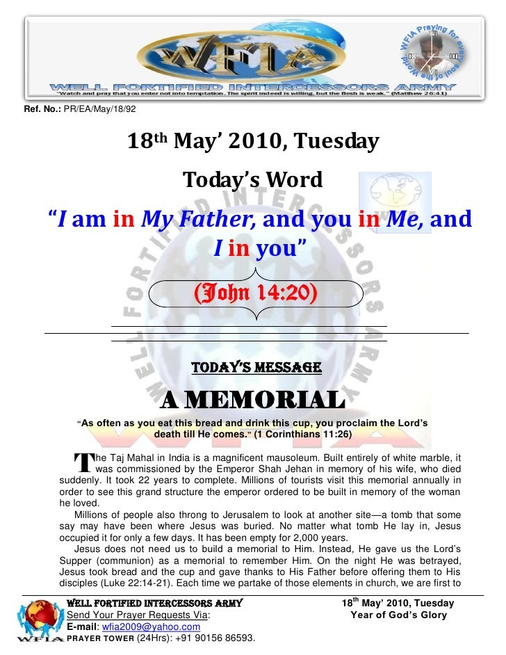 Ref. No.: PR/EA/May/18/92                         18th May' 2010, Tuesday                                    Today's Word ...