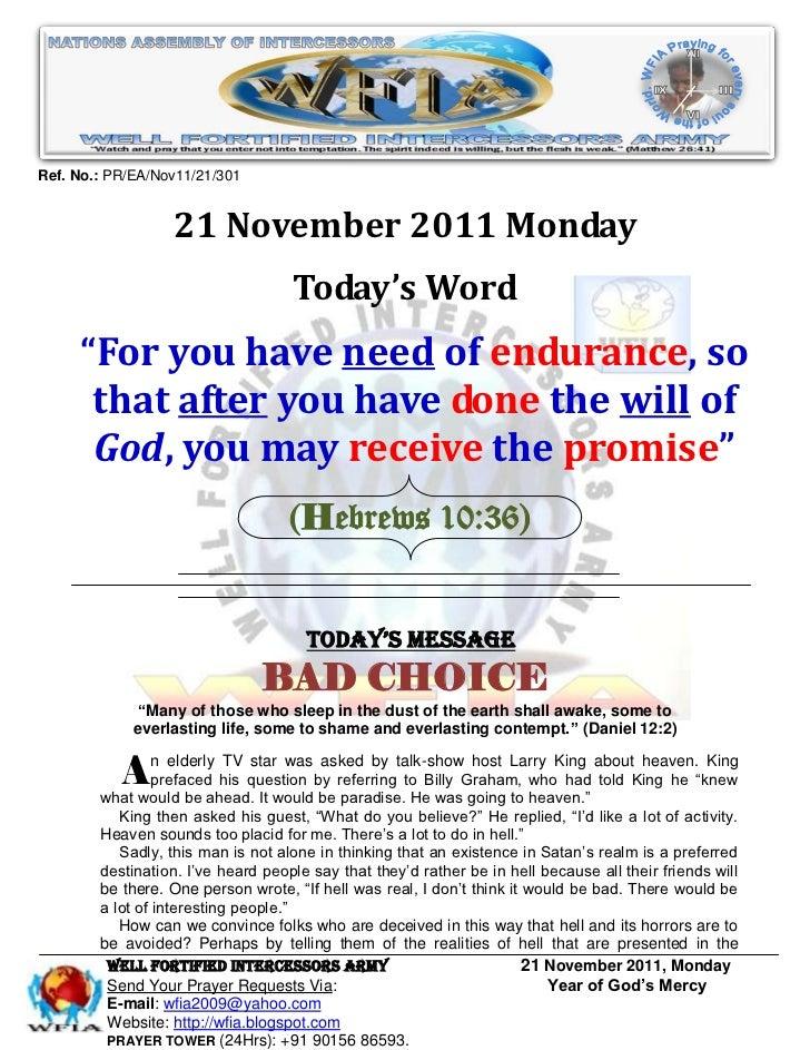 Ref. No.: PR/EA/Nov11/21/301                  21 November 2011 Monday                                    Today's Word     ...