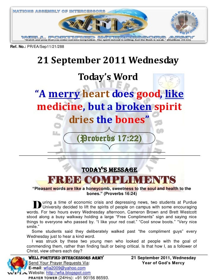 WFIA, Prayer For 21 September 2011