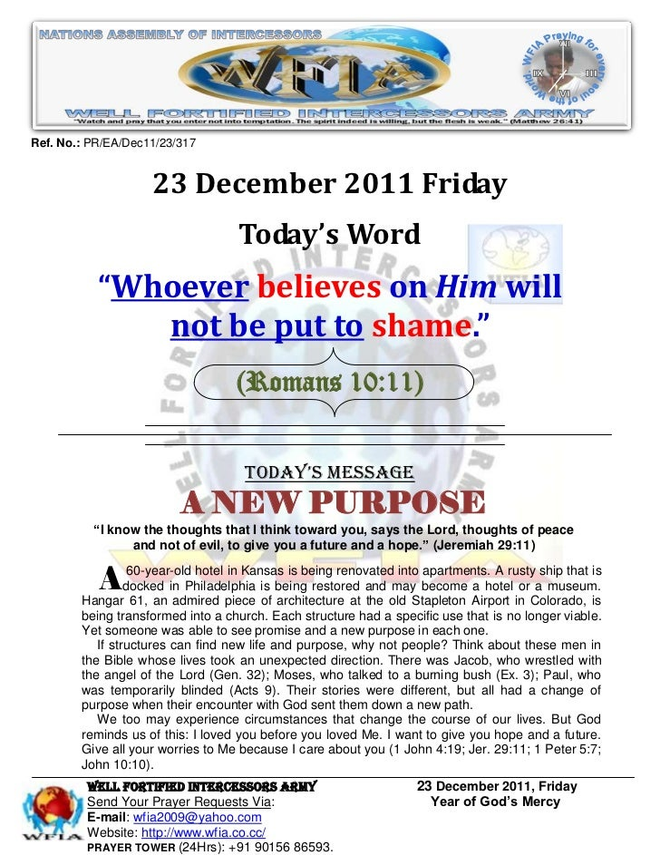 WFIA, Prayer For 23 December 2011