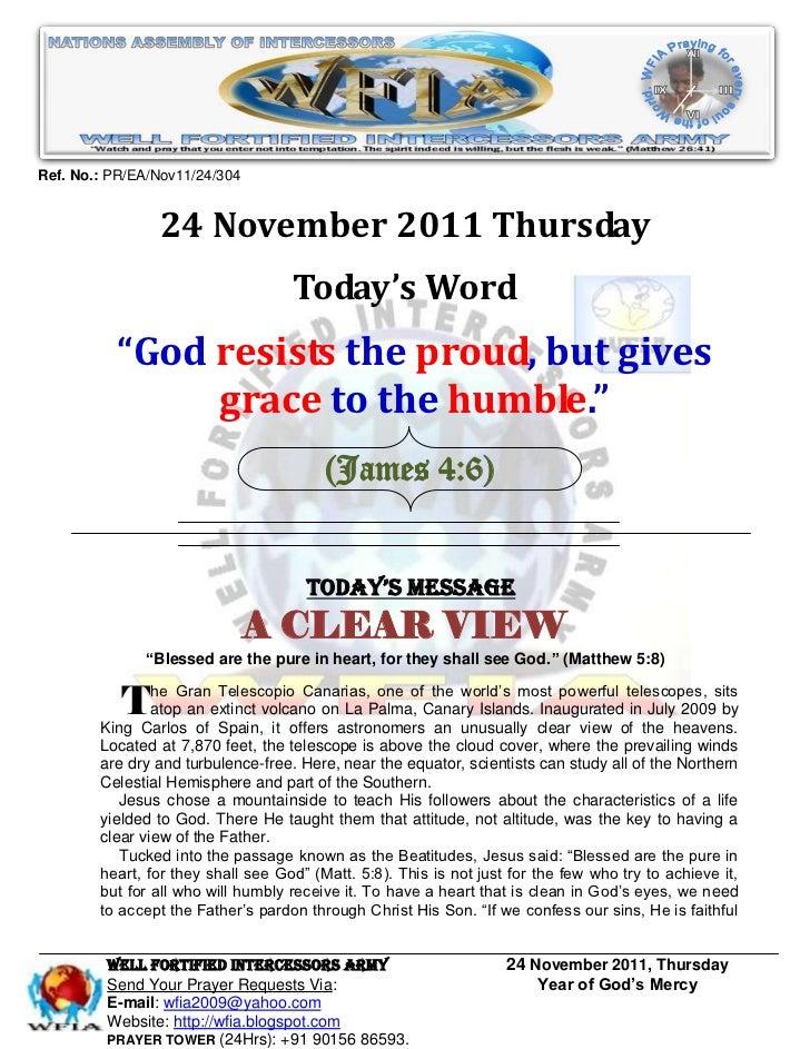 WFIA, Prayer For 24 November 2011