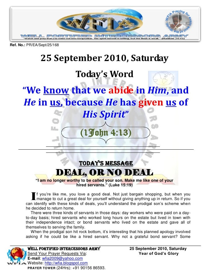 Ref. No.: PR/EA/Sept/25/168                   25 September 2010, Saturday                                     Today's Word...