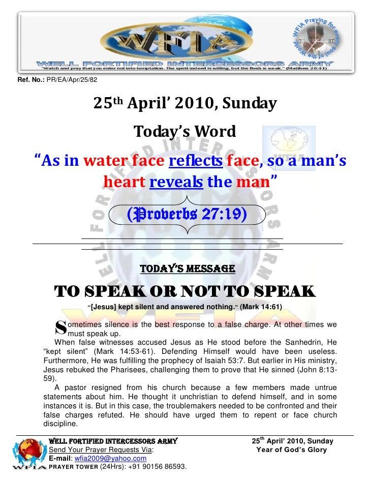 WFIA, Prayer for 25th April' 2010