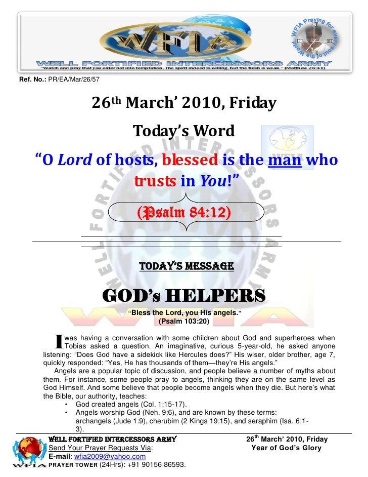Ref. No.: PR/EA/Mar/26/57                         26th March' 2010, Friday                                   Today's Word ...