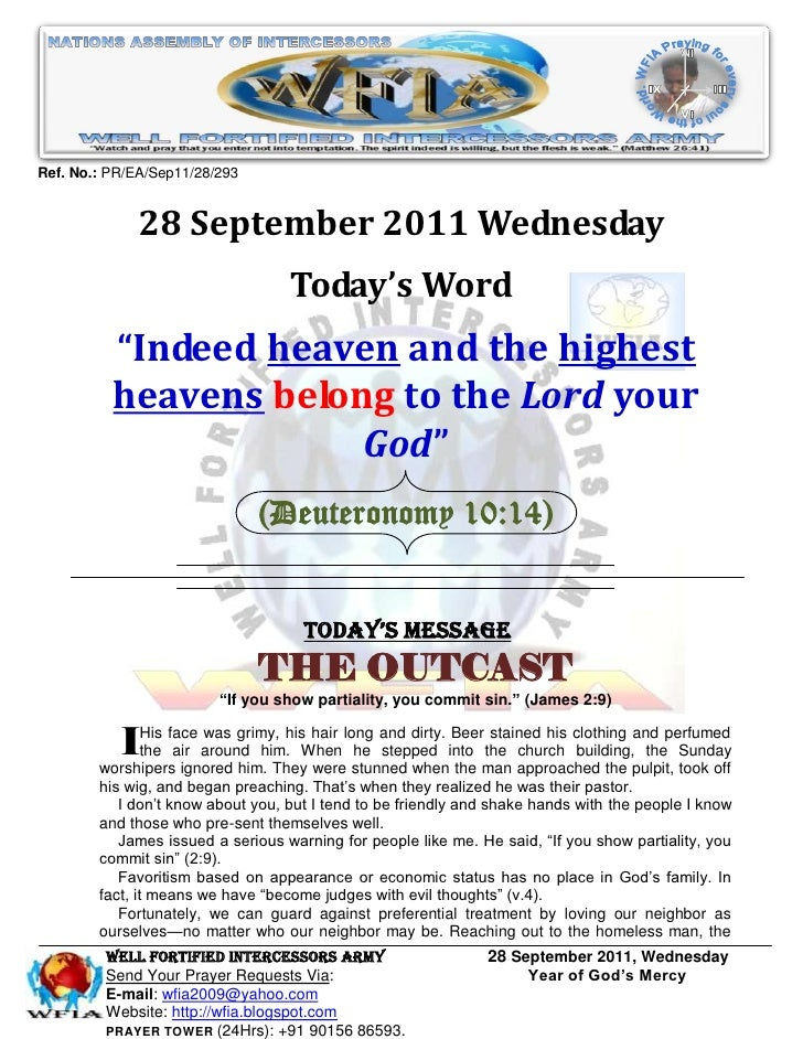 Ref. No.: PR/EA/Sep11/28/293              28 September 2011 Wednesday                                   Today's Word      ...