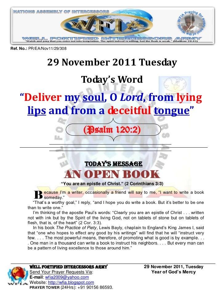 Ref. No.: PR/EA/Nov11/29/308                  29 November 2011 Tuesday                                    Today's Word    ...