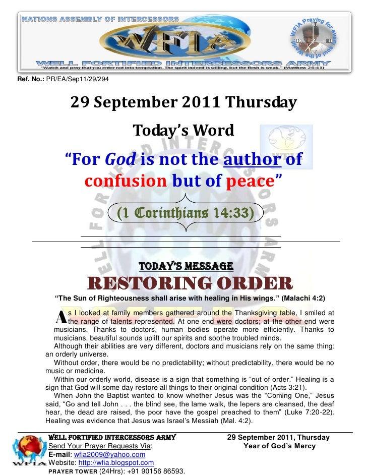 WFIA, Prayer For 29 September 2011