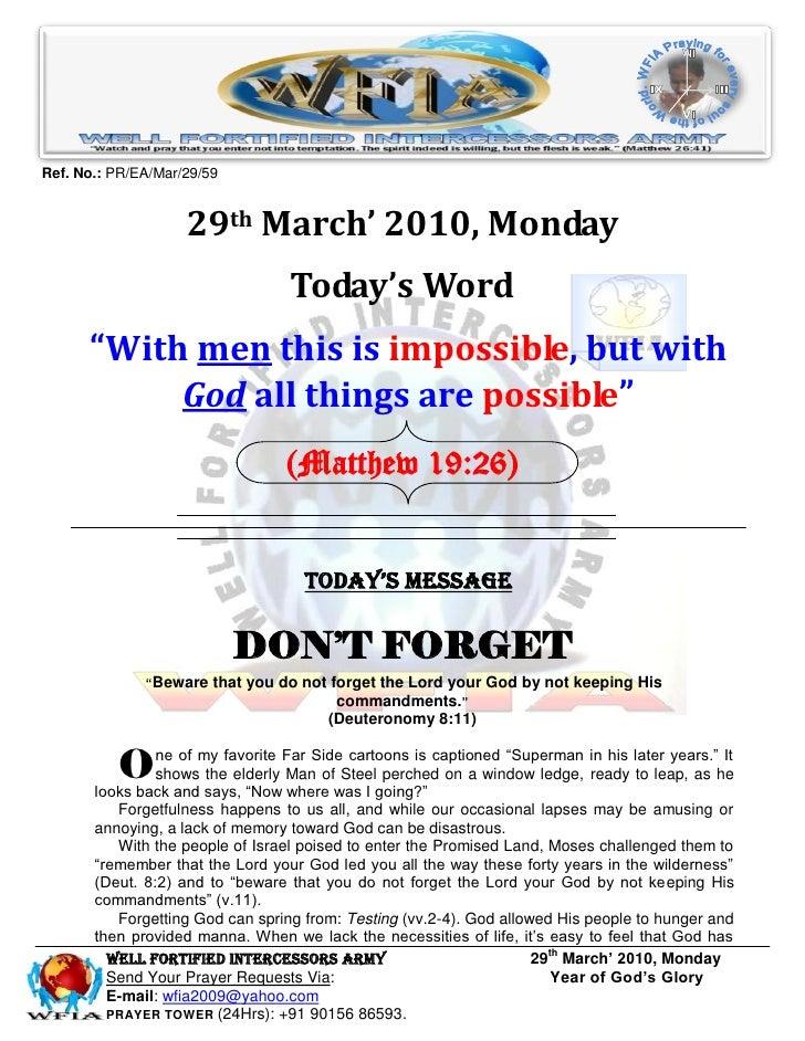 Ref. No.: PR/EA/Mar/29/59                       29th March' 2010, Monday                                   Today's Word   ...